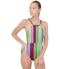 Beautiful Multi Colored Bright Stripes Pattern Wallpaper Background High Neck One Piece Swimsuit