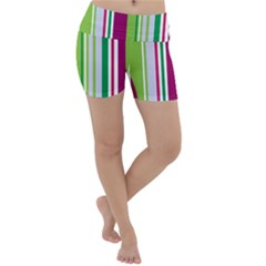 Beautiful Multi Colored Bright Stripes Pattern Wallpaper Background Lightweight Velour Yoga Shorts