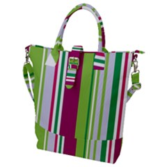 Beautiful Multi Colored Bright Stripes Pattern Wallpaper Background Buckle Top Tote Bag