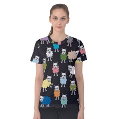 Sheep Cartoon Colorful Women s Cotton Tee by Jojostore