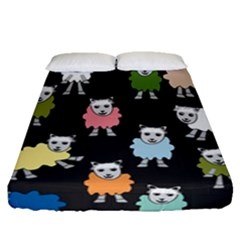 Sheep Cartoon Colorful Fitted Sheet (queen Size) by Jojostore