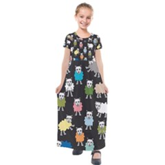 Sheep Cartoon Colorful Kids  Short Sleeve Maxi Dress