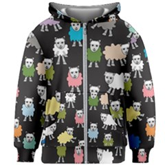 Sheep Cartoon Colorful Kids Zipper Hoodie Without Drawstring