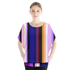 Fun Striped Background Design Pattern Batwing Chiffon Blouse by Jojostore