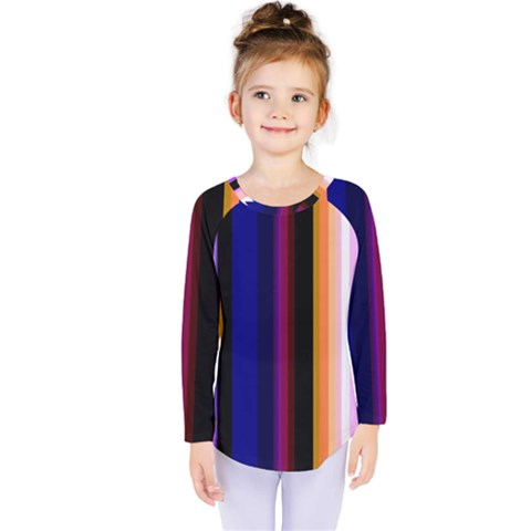 Fun Striped Background Design Pattern Kids  Long Sleeve Tee by Jojostore