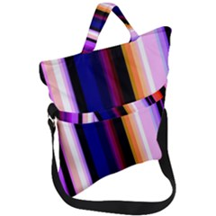 Fun Striped Background Design Pattern Fold Over Handle Tote Bag by Jojostore