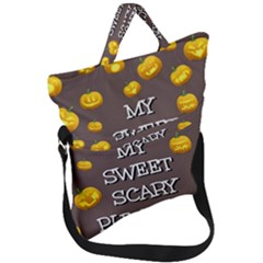 Scary Sweet Funny Cute Pumpkins Hallowen Ecard Fold Over Handle Tote Bag by Jojostore