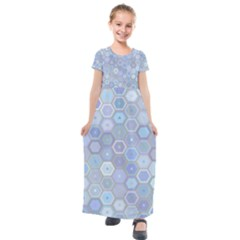 Bee Hive Background Kids  Short Sleeve Maxi Dress