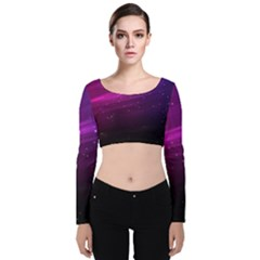 Purple Wallpaper Velvet Long Sleeve Crop Top