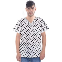Geometric Pattern Men s V Neck Scrub Top