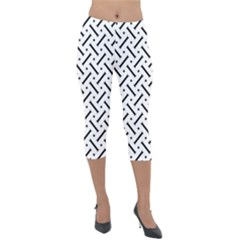 Geometric Pattern Lightweight Velour Capri Leggings  by Jojostore