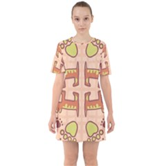 Dog Abstract Background Pattern Design Sixties Short Sleeve Mini Dress