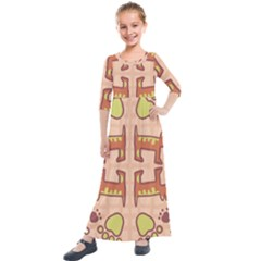Dog Abstract Background Pattern Design Kids  Quarter Sleeve Maxi Dress