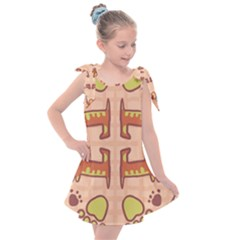Dog Abstract Background Pattern Design Kids  Tie Up Tunic Dress