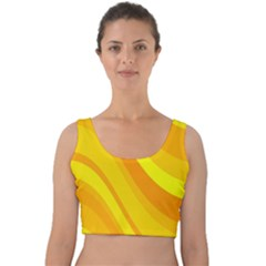 Orange Yellow Background Velvet Crop Top by Jojostore