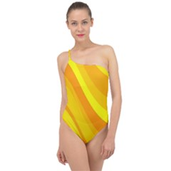 Orange Yellow Background Classic One Shoulder Swimsuit by Jojostore
