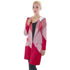 Red Material Design Hooded Pocket Cardigan