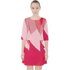 Red Material Design Pocket Dress