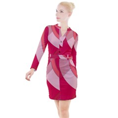 Red Material Design Button Long Sleeve Dress