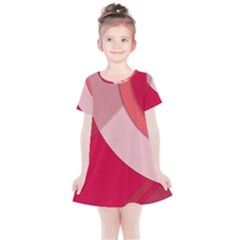 Red Material Design Kids  Simple Cotton Dress
