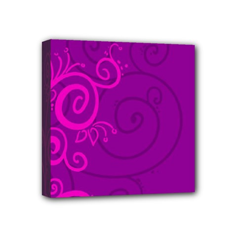 Floraly Swirlish Purple Color Mini Canvas 4  X 4  (stretched)