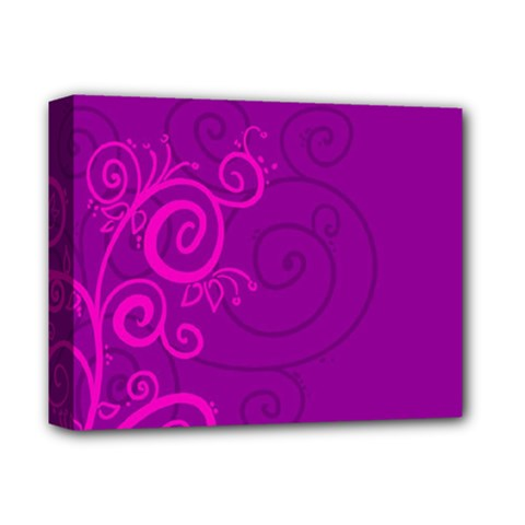 Floraly Swirlish Purple Color Deluxe Canvas 14  X 11  (stretched) by Jojostore