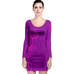Floraly Swirlish Purple Color Long Sleeve Bodycon Dress