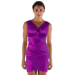 Floraly Swirlish Purple Color Wrap Front Bodycon Dress by Jojostore