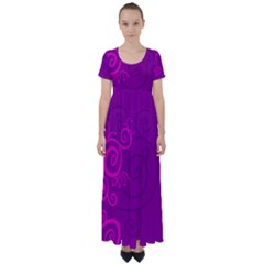 Floraly Swirlish Purple Color High Waist Short Sleeve Maxi Dress by Jojostore