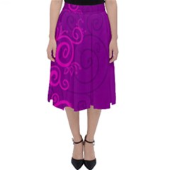 Floraly Swirlish Purple Color Classic Midi Skirt
