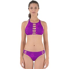 Floraly Swirlish Purple Color Perfectly Cut Out Bikini Set