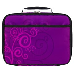 Floraly Swirlish Purple Color Full Print Lunch Bag by Jojostore