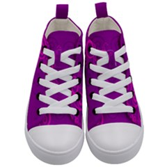 Floraly Swirlish Purple Color Kid s Mid Top Canvas Sneakers
