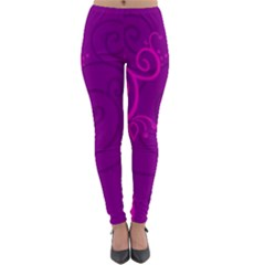 Floraly Swirlish Purple Color Lightweight Velour Leggings