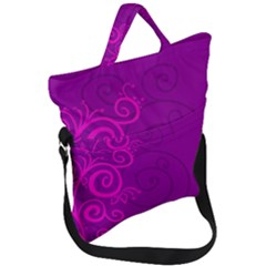 Floraly Swirlish Purple Color Fold Over Handle Tote Bag by Jojostore