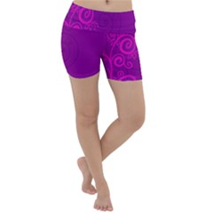 Floraly Swirlish Purple Color Lightweight Velour Yoga Shorts by Jojostore