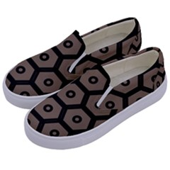 Black Bee Hive Texture Kids  Canvas Slip Ons by Jojostore