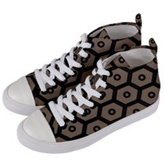 Black Bee Hive Texture Women s Mid Top Canvas Sneakers by Jojostore