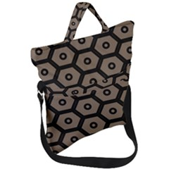 Black Bee Hive Texture Fold Over Handle Tote Bag