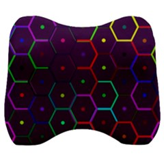 Color Bee Hive Pattern Velour Head Support Cushion