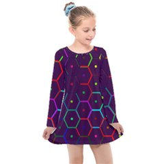 Color Bee Hive Pattern Kids  Long Sleeve Dress