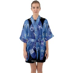 Astrology Birth Signs Chart Quarter Sleeve Kimono Robe by Jojostore