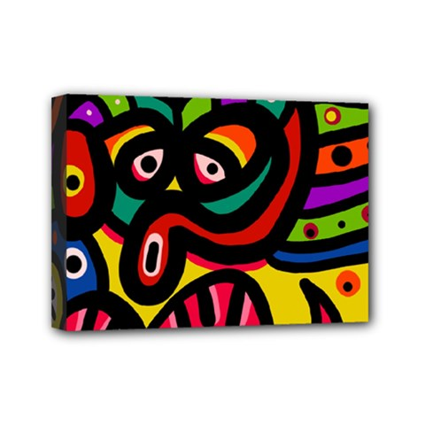 A Seamless Crazy Face Doodle Pattern Mini Canvas 7  X 5  (stretched) by Jojostore