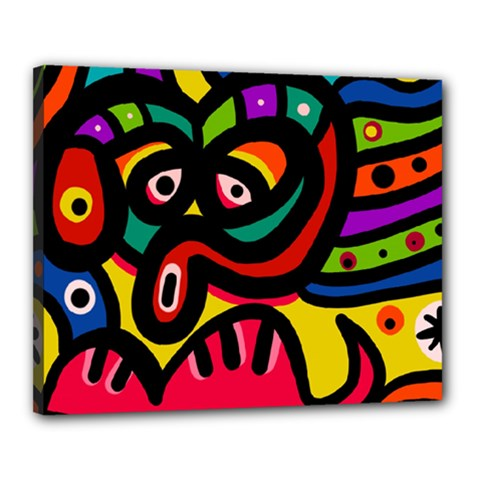A Seamless Crazy Face Doodle Pattern Canvas 20  X 16  (stretched) by Jojostore