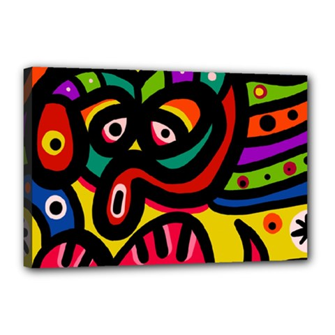 A Seamless Crazy Face Doodle Pattern Canvas 18  X 12  (stretched) by Jojostore