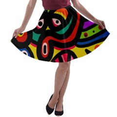 A Seamless Crazy Face Doodle Pattern A Line Skater Skirt by Jojostore