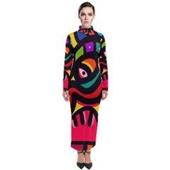 A Seamless Crazy Face Doodle Pattern Turtleneck Maxi Dress