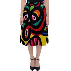 A Seamless Crazy Face Doodle Pattern Classic Midi Skirt