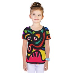 A Seamless Crazy Face Doodle Pattern Kids  One Piece Tee by Jojostore