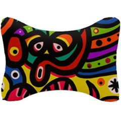 A Seamless Crazy Face Doodle Pattern Seat Head Rest Cushion by Jojostore